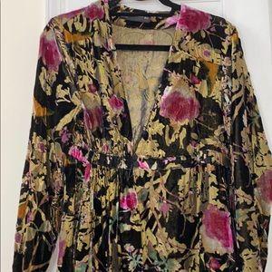 Zara velvet floral kimono
